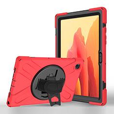 Samsung Galaxy Tab A7 4G 10.4 SM-T505用手帳型 レザーケース スタンド カバー L02 サムスン レッド