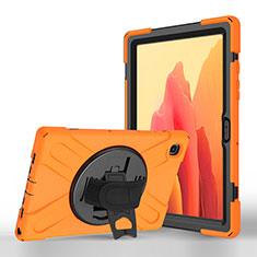 Samsung Galaxy Tab A7 4G 10.4 SM-T505用手帳型 レザーケース スタンド カバー L02 サムスン オレンジ