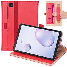 Samsung Galaxy Tab A7 4G 10.4 SM-T505用手帳型 レザーケース スタンド カバー L03 サムスン レッド