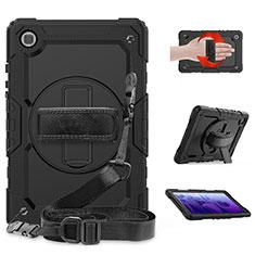 Samsung Galaxy Tab A7 4G 10.4 SM-T505用ハイブリットバンパーケース スタンド プラスチック 兼シリコーン カバー サムスン ブラック