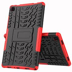 Samsung Galaxy Tab A7 4G 10.4 SM-T505用ハイブリットバンパーケース スタンド プラスチック 兼シリコーン カバー A01 サムスン レッド