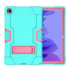 Samsung Galaxy Tab A7 4G 10.4 SM-T505用ハイブリットバンパーケース スタンド プラスチック 兼シリコーン カバー A02 サムスン シアン
