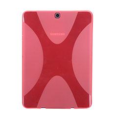 Samsung Galaxy Tab S2 8.0 SM-T710 SM-T715用ソフトケース X ライン クリア透明 サムスン レッド