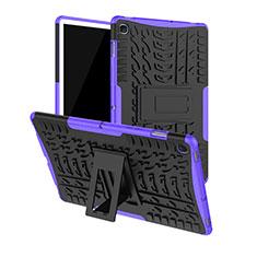 Samsung Galaxy Tab S5e 4G 10.5 SM-T725用ハイブリットバンパーケース スタンド プラスチック 兼シリコーン カバー A01 サムスン パープル