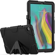 Samsung Galaxy Tab S5e 4G 10.5 SM-T725用ハイブリットバンパーケース スタンド プラスチック 兼シリコーン カバー A02 サムスン ブラック
