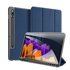 Samsung Galaxy Tab S7 11 Wi-Fi SM-T870用手帳型 レザーケース スタンド カバー サムスン ネイビー