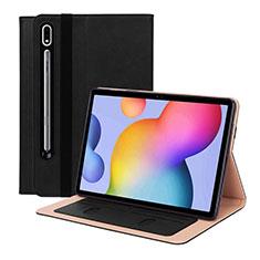 Samsung Galaxy Tab S7 11 Wi-Fi SM-T870用手帳型 レザーケース スタンド カバー L01 サムスン ブラック