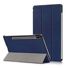 Samsung Galaxy Tab S7 11 Wi-Fi SM-T870用手帳型 レザーケース スタンド カバー L02 サムスン ネイビー
