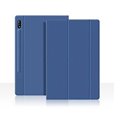 Samsung Galaxy Tab S7 11 Wi-Fi SM-T870用手帳型 レザーケース スタンド カバー L05 サムスン ネイビー