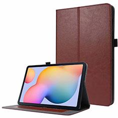 Samsung Galaxy Tab S7 11 Wi-Fi SM-T870用手帳型 レザーケース スタンド カバー L07 サムスン ブラウン