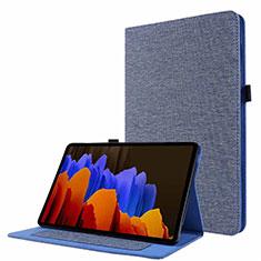 Samsung Galaxy Tab S7 11 Wi-Fi SM-T870用手帳型 布 スタンド サムスン ネイビー