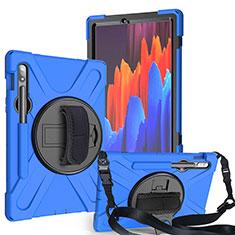 Samsung Galaxy Tab S7 11 Wi-Fi SM-T870用ハイブリットバンパーケース スタンド プラスチック 兼シリコーン カバー A02 サムスン ネイビー