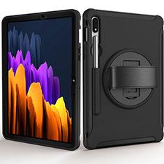 Samsung Galaxy Tab S7 11 Wi-Fi SM-T870用ハイブリットバンパーケース スタンド プラスチック 兼シリコーン カバー A03 サムスン ブラック