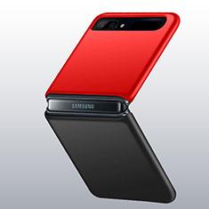 Samsung Galaxy Z Flip用ハードケース プラスチック 質感もマット カバー M01 サムスン レッド・ブラック