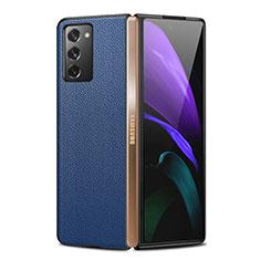 Samsung Galaxy Z Fold2 5G用ケース 高級感 手触り良いレザー柄 サムスン ネイビー