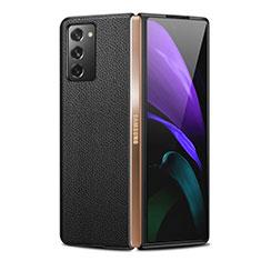 Samsung Galaxy Z Fold2 5G用ケース 高級感 手触り良いレザー柄 サムスン ブラック