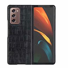 Samsung Galaxy Z Fold2 5G用ケース 高級感 手触り良いレザー柄 S02 サムスン ブラック