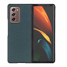 Samsung Galaxy Z Fold2 5G用ケース 高級感 手触り良いレザー柄 S03 サムスン グリーン