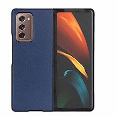 Samsung Galaxy Z Fold2 5G用ケース 高級感 手触り良いレザー柄 S03 サムスン ネイビー