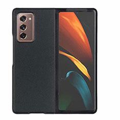 Samsung Galaxy Z Fold2 5G用ケース 高級感 手触り良いレザー柄 S03 サムスン ブラック