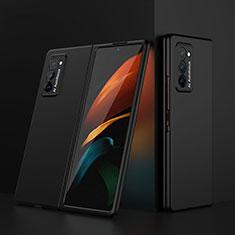 Samsung Galaxy Z Fold2 5G用ハードケース プラスチック 質感もマット 前面と背面 360度 フルカバー サムスン ブラック