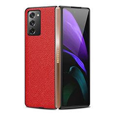 Samsung Galaxy Z Fold2 5G用ケース 高級感 手触り良いレザー柄 S01 サムスン レッド