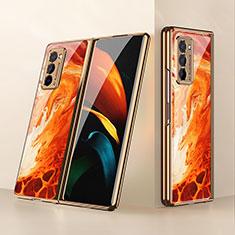 Samsung Galaxy Z Fold2 5G用ハイブリットバンパーケース プラスチック 鏡面 カバー サムスン オレンジ