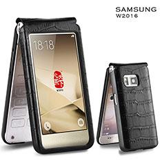 Samsung W(2016)用クロコダイル柄レザーケース カバー C03 サムスン ブラック