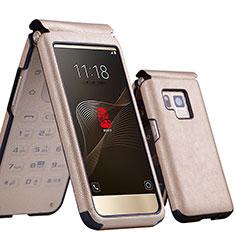 Samsung W(2017)用レザーケース カバー サムスン ゴールド