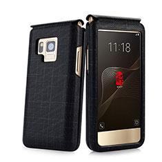 Samsung W(2017)用レザーケース カバー C03 サムスン ブラック