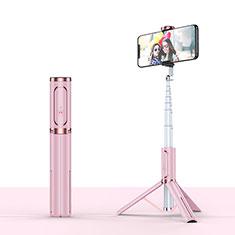 Samsung Galaxy S21 Plus 5G用無線 Bluetooth じどり棒 自撮り棒自分撮りスティック 三脚架 セルフィスティック T26 ローズゴールド