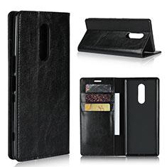 Sony Xperia 1用手帳型 レザーケース スタンド カバー ソニー ブラック
