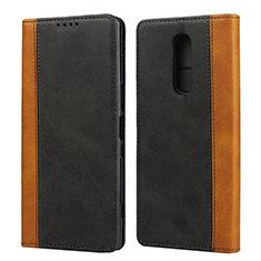 Sony Xperia 1用手帳型 レザーケース スタンド カバー L03 ソニー ブラック
