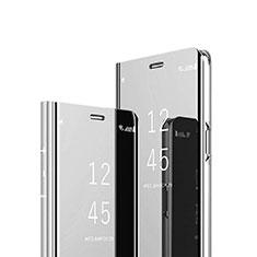 Sony Xperia 1用手帳型 レザーケース スタンド 鏡面 カバー ソニー シルバー