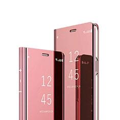 Sony Xperia 1用手帳型 レザーケース スタンド 鏡面 カバー ソニー ローズゴールド