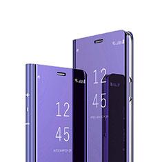 Sony Xperia 1用手帳型 レザーケース スタンド 鏡面 カバー ソニー パープル