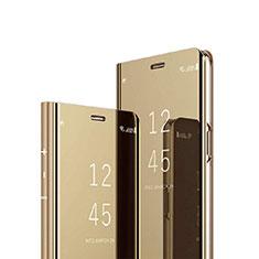 Sony Xperia 1用手帳型 レザーケース スタンド 鏡面 カバー ソニー ゴールド