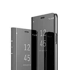 Sony Xperia 1用手帳型 レザーケース スタンド 鏡面 カバー ソニー ブラック
