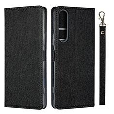 Sony Xperia 1 II用手帳型 レザーケース スタンド カバー ソニー ブラック