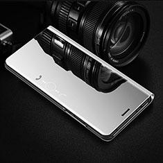 Sony Xperia 1 II用手帳型 レザーケース スタンド 鏡面 カバー L01 ソニー シルバー