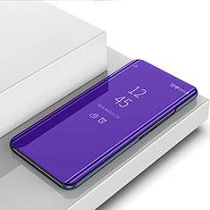 Sony Xperia 1 II用手帳型 レザーケース スタンド 鏡面 カバー ソニー パープル