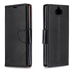 Sony Xperia 10用手帳型 レザーケース スタンド カバー L02 ソニー ブラック