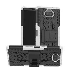 Sony Xperia 10用ハイブリットバンパーケース スタンド プラスチック 兼シリコーン カバー ソニー ホワイト