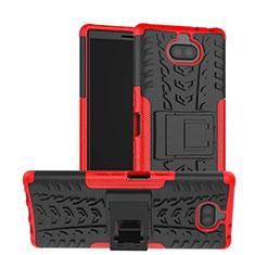 Sony Xperia 10用ハイブリットバンパーケース スタンド プラスチック 兼シリコーン カバー ソニー レッド