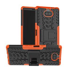 Sony Xperia 10用ハイブリットバンパーケース スタンド プラスチック 兼シリコーン カバー ソニー オレンジ