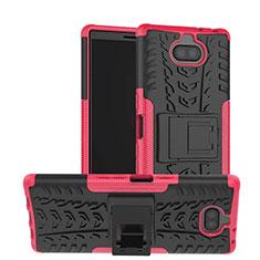Sony Xperia 10用ハイブリットバンパーケース スタンド プラスチック 兼シリコーン カバー ソニー ローズレッド