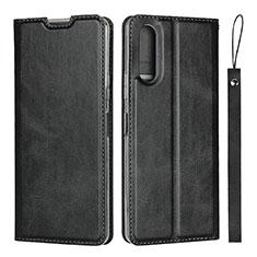 Sony Xperia 10 II用手帳型 レザーケース スタンド カバー L01 ソニー ブラック