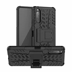 Sony Xperia 10 II用ハイブリットバンパーケース スタンド プラスチック 兼シリコーン カバー ソニー ブラック