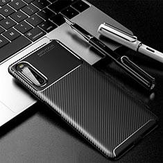 Sony Xperia 10 II用シリコンケース ソフトタッチラバー ツイル カバー ソニー ブラック