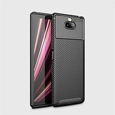 Sony Xperia 10 Plus用シリコンケース ソフトタッチラバー ツイル カバー S01 ソニー ブラック